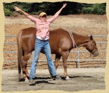 Click to enlarge. Having fun with positive reinforcement at the Equine Research Foundation.
