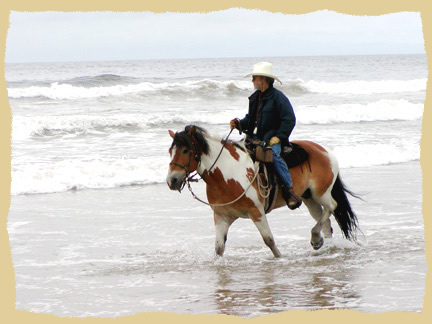 Horse riding by the ocean on the horse vacations with the Equine Research Foundation. Click to enlarge.